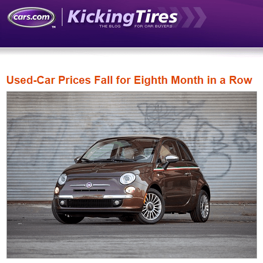 Used Car Prices Continue to Fall (8 months straight)