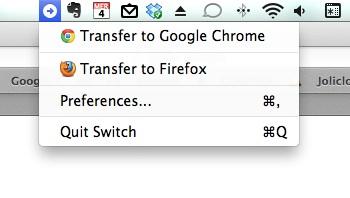 Le menu peut permettre également de basculer la page active dans Firefox...