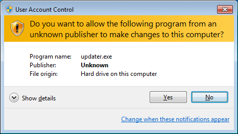 WIndows 7 UAC Prompt