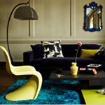 Lounge New blinds :: Brightly coloured funky roller blinds