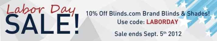 Window blinds sale for Labor Day