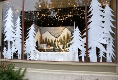 Christmas Tree Window Decals made from paper