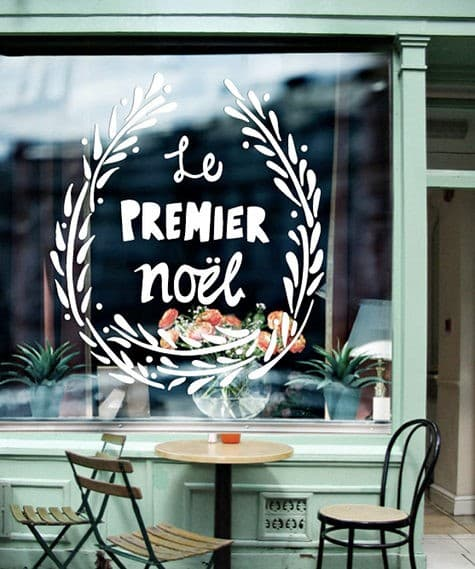 French christmas window decal