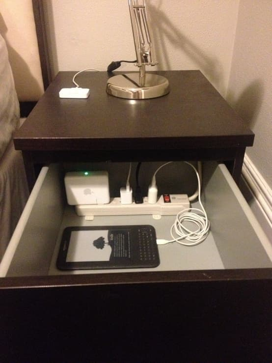 Hide Cords with a Power Strip in Your Nightstand