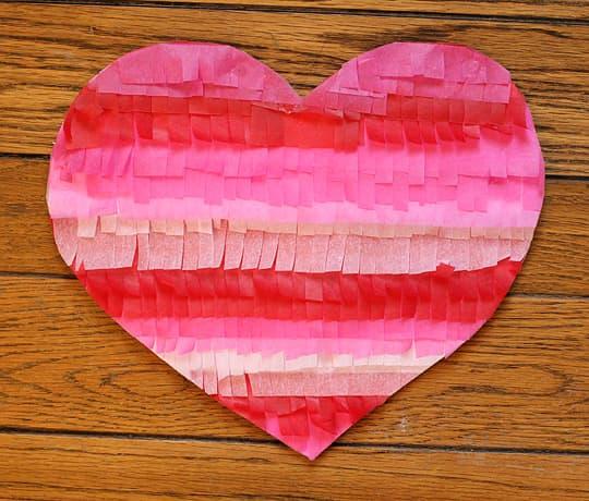 Tissue paper Fringe Heart DIY