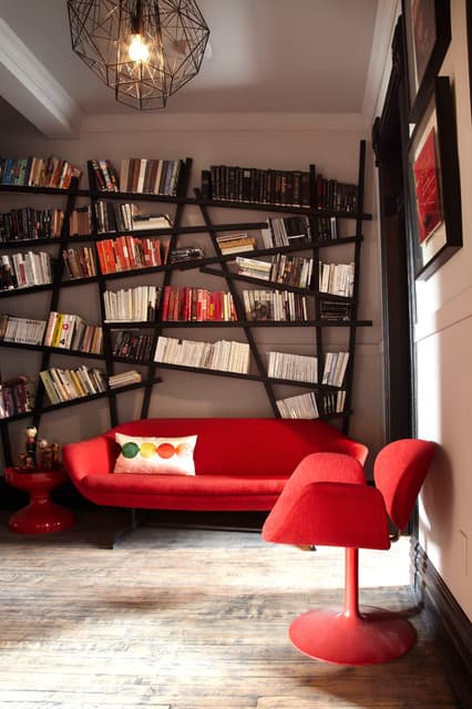 Crooked bookcase living room
