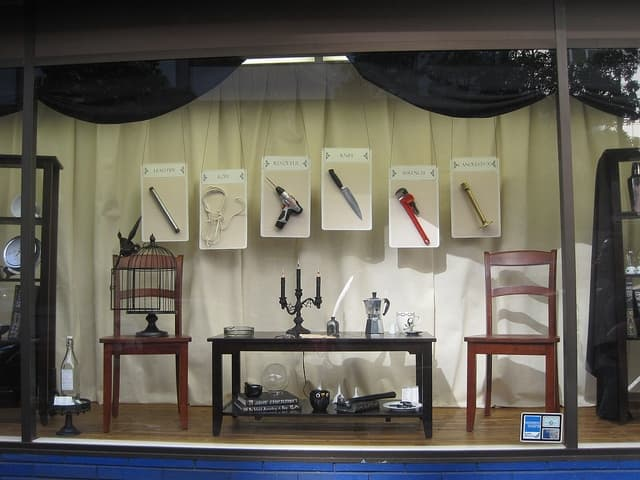 Clue themed Halloween window display