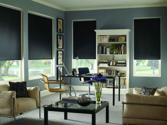 Blinds.com Signature Blackout Roller Shades in Rockport Midnight Black