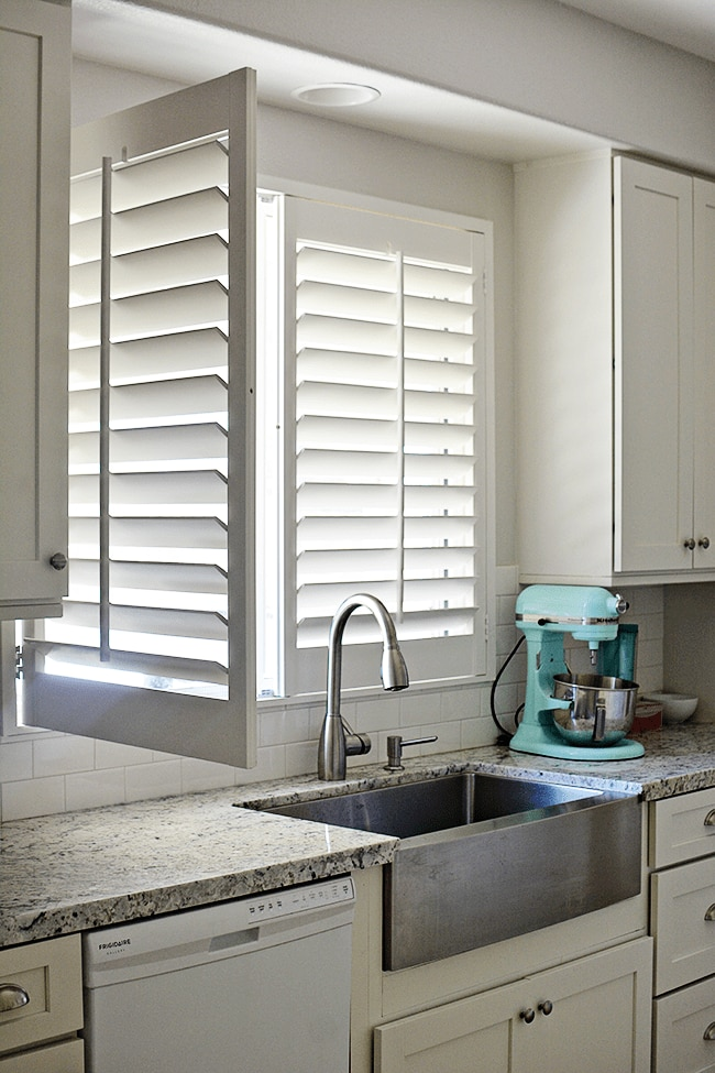 No More Dark Rooms Signature Plantation Shutters Brighten Up The Kitchen The Finishing Touch