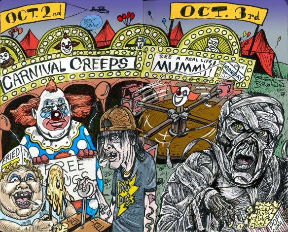 """Carnival Creeps"" and ""Mummy Monday"" in color. Click for larger image."