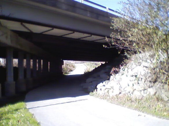Other side of Four Seasons BLVD. overpass, heading towards Jackson Park.