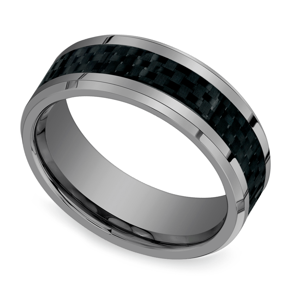 hot or not mens tungsten wedding rings mens wedding rings pasted image 1 Beveled Carbon Fiber Inlay Men s Wedding Ring
