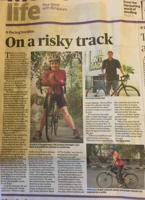 BOTS on Deccan Herald - Safer cycling