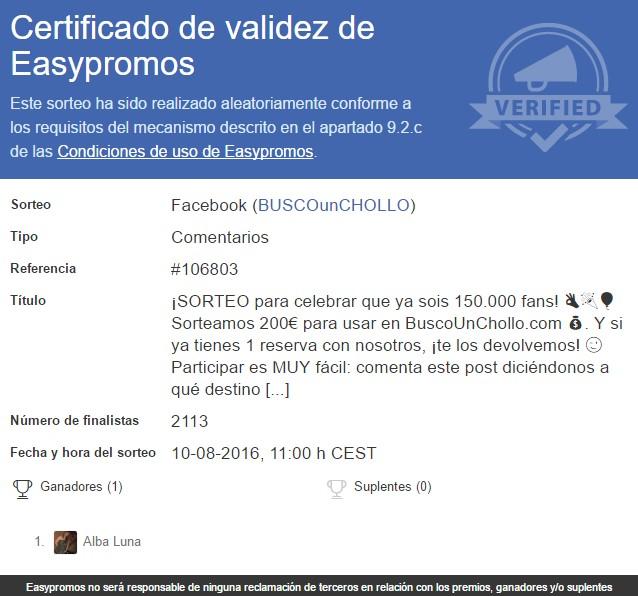 Sorteo Facebook BuscoUnChollo.com