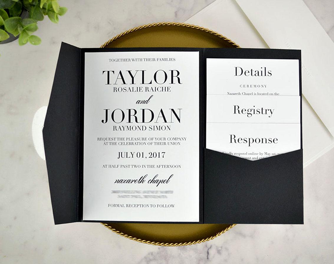 Real DIY Wedding Invitation: Classic Black U0026 White Pocket