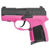 Picture shows the compact SIG Sauer P290 pistol with pink frame and black grips.