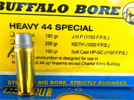 .44 Special Buffalo Bore bullet and ammo box