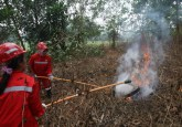 Firefighters practice in Palangkaraya, Central Kalimantan, Indonesia. Land-clearing fires here and in Sumatra, Indonesia, have caused extensive air pollution in parts of Southeast Asia. Achmad Ibrahim/CIFOR photo