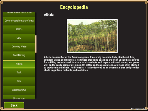 You didn't think you could play Landscape Game without learning something, did you? An in-game encyclopedia enables players to learn more about the different agricultural land uses they can invest in. CIFOR photo
