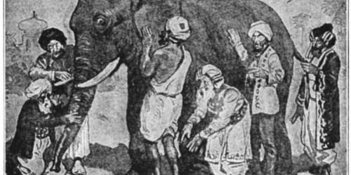 Seperti kisah enam orang buta dan gajah, mendapatkan gambaran besar sumberdaya hutan dunia tidak sederhana. Ilustrator tidak diketahui.