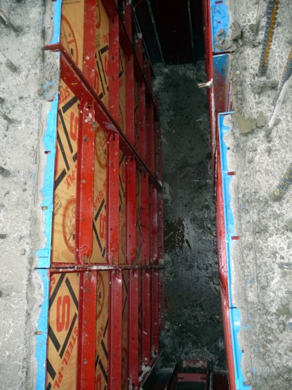 Here's a view standing at the top of the wall looking down into the inside ducts.