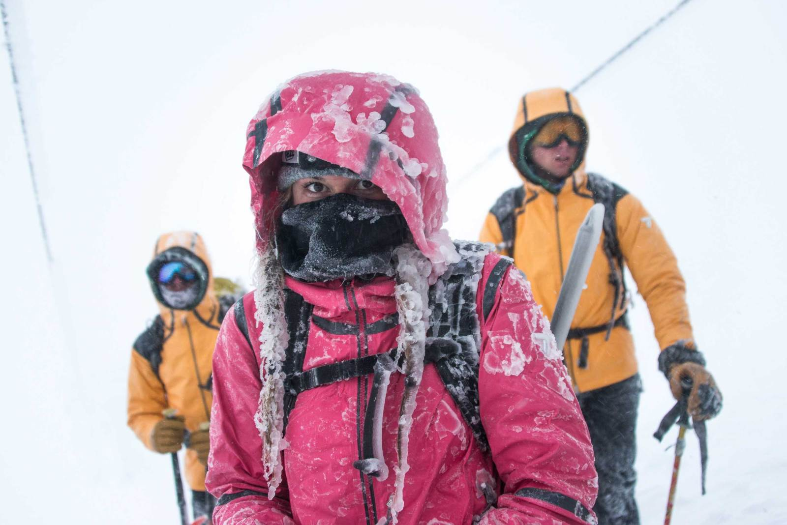 Director of Toughness Lauren Steele and 2 Mt. Hood guides in icy conditions
