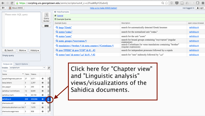 Accessing document visualizations of the Sahidica corpus via ANNIS