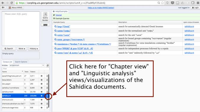 Accessing document visualizations of the Sahidica corpus via ANNIS