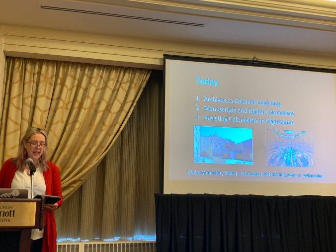 C. Schroeder presenting at ACH 2019; photo courtesy Melissa Dollman via Twitter