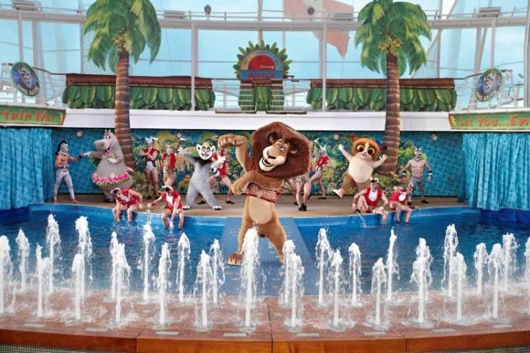 Madagascar cast on Royal Caribbean Aqua Theatre