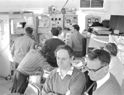 Chief of the CSIRO Radiophysics Division, Dr Edward 'Taffy' Bowen (right), with Dr John Shimmins, deputy director of Parkes Observatory, in the control room watching the moonwalk (21 July 1969).