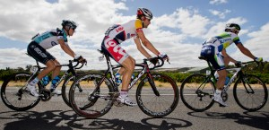 Serge Pauwels (left) rode conservatively during stage 4 of the Tour Down Under. AAP Image/Benjamin Macmahon