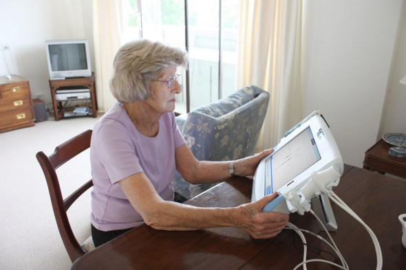 Older lady using TeleMedCare system