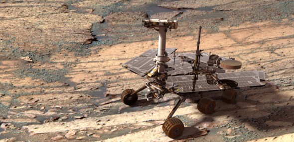 Opportunity trundles along looking for more evidence of water – and life – on Mars. Image: NASA.