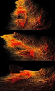3 images showing different angles of a 3D scan map of the HMQS Gayundah shipwreck.