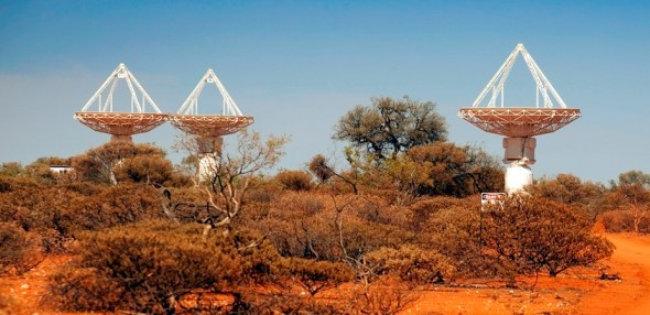 Three of the dishes used by the Australian Square Kilometre Array Pathfinder telescope.