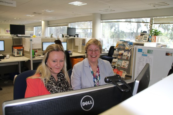 L-R Our Client Relations Manager Claire Manson showing our Chief Executive Megan Clark the ropes