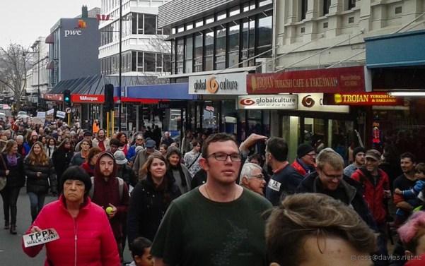 Anti-TPPA march George Street Dunedin