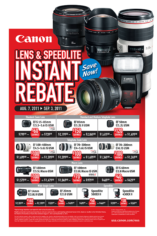 canon rebate instant save savings l lens speedlite flash speedlight
