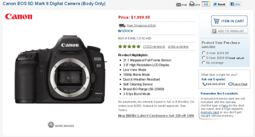 Canon 5D mark mk II low lowest price sale