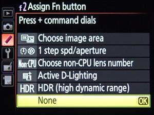 Nikon D7100 menu Function Fn Button customize assign