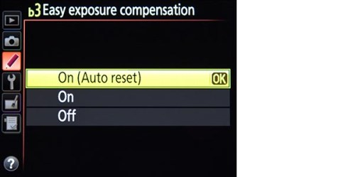 Nikon D7100 easy exposure compensation