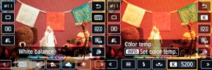 Canon 70D white balance live view kelvin k setting custom touch screen EOS