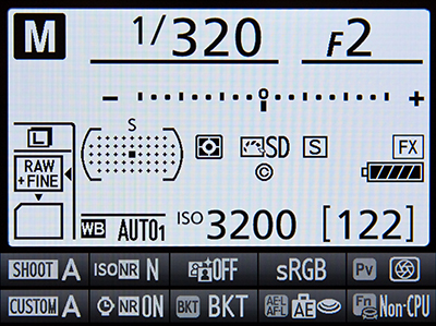 Nikon D810 Information Display LCD monitor screen