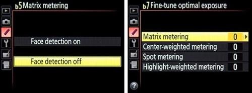 Nikon D810 menu custom setting meter metering face detect tips tricks