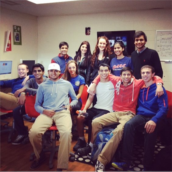 Cat Hoyt (top row in third from left) poses with fellow TED-Ed Club Members. Photo courtesy Burlington High School's TED-Ed Club.