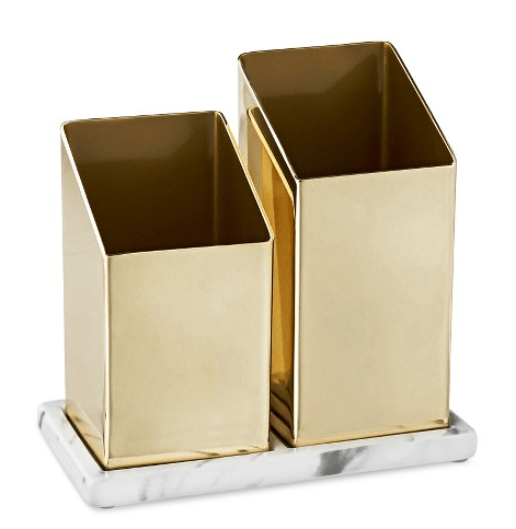 angled brass brush holder