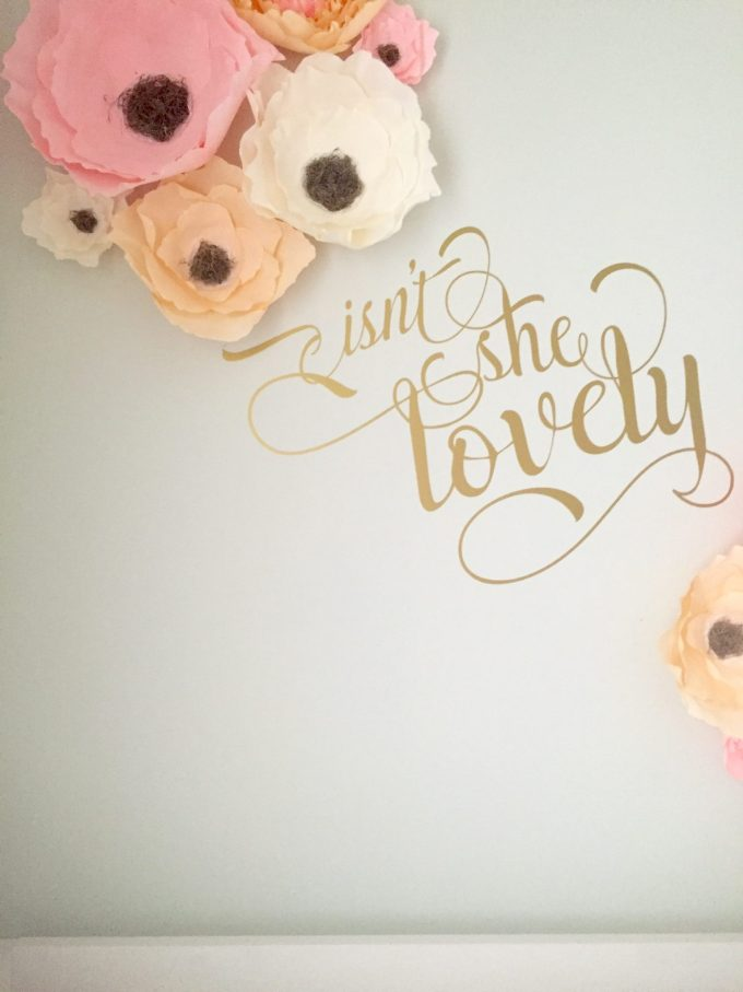 isn't she lovely gold wall decal