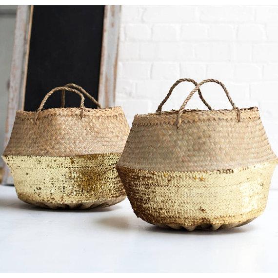 gold sequin straw basket