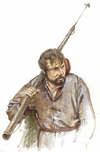 An artist's representation of a Basque whaler.